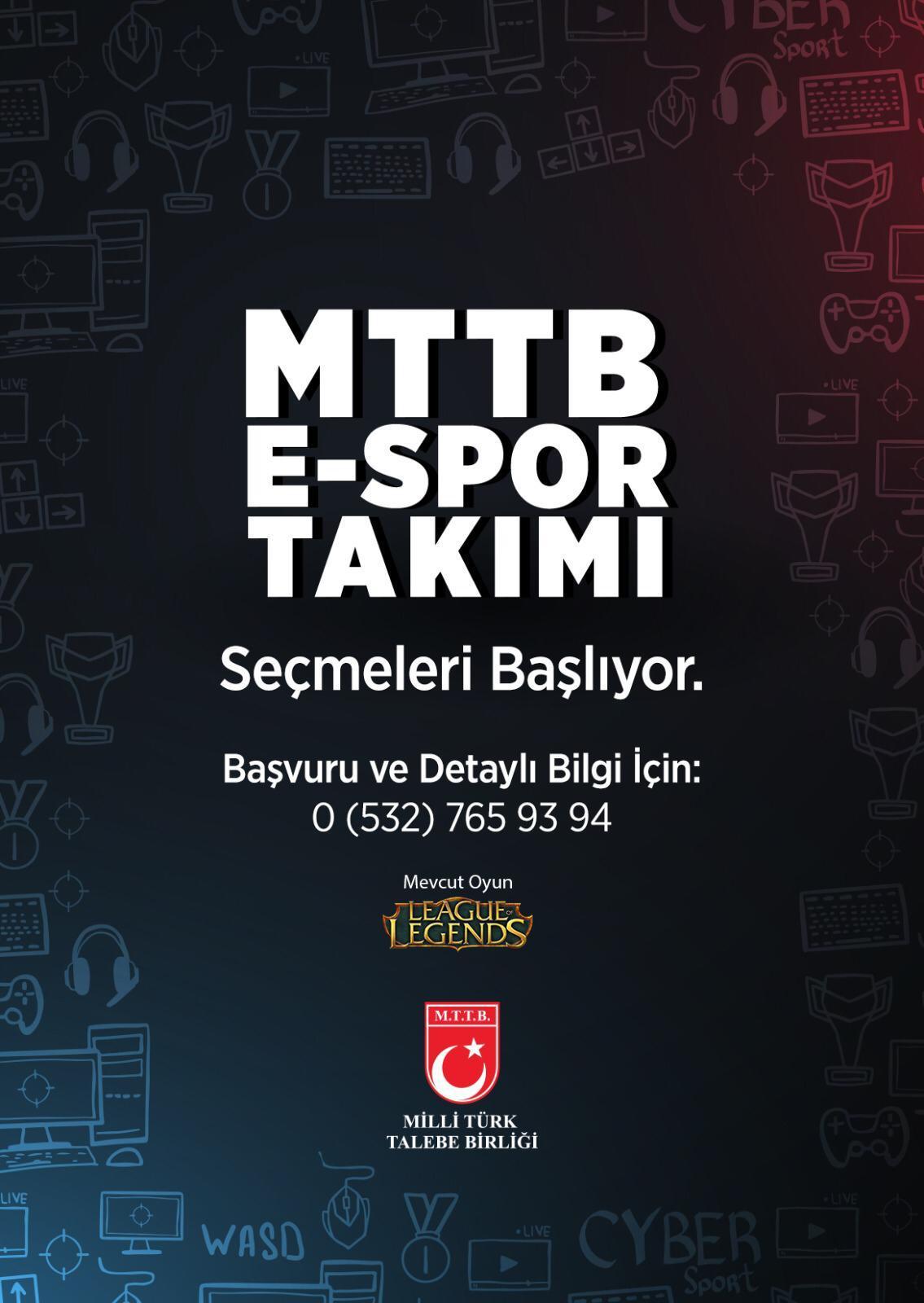 MTTB E-SPOR Takımı Seçmeleri Başlıyor!
