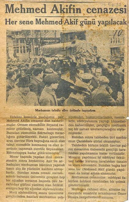 Vatan şairimiz Mehmet Akif Ersoy'un cenaze merasimini MTTB'li talebeler yapmıştır.