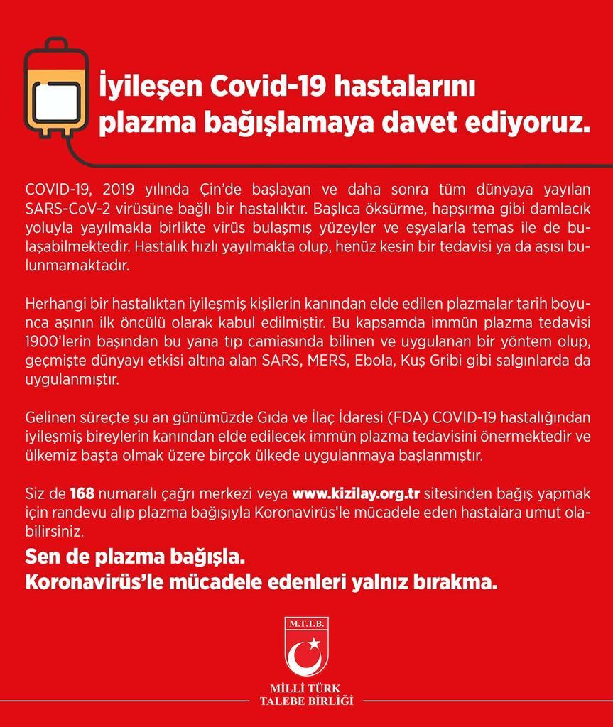 İyileşen Covid-19 Hastalarını Plazma Bağışlamaya Davet Ediyoruz.